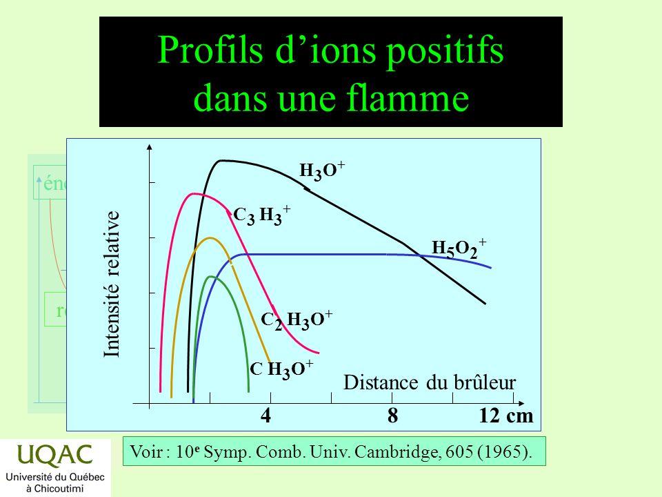 Profils d'ions positifs dans une flamme