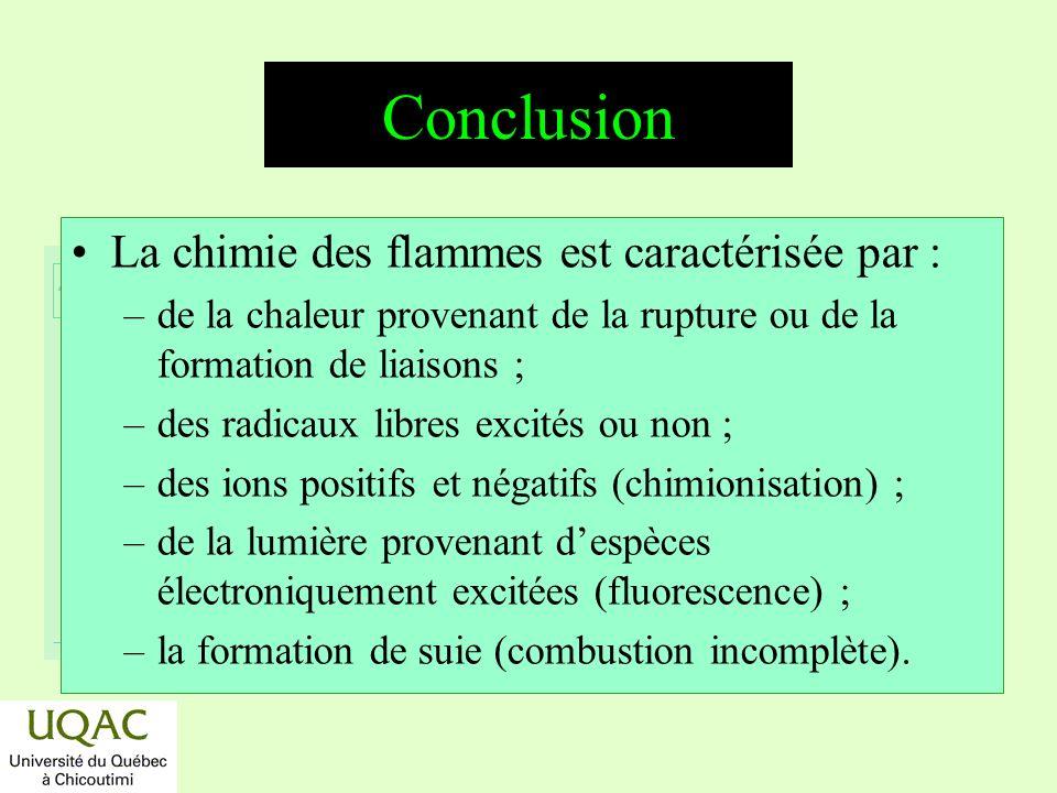 Conclusion La chimie des flammes est caractérisée par :