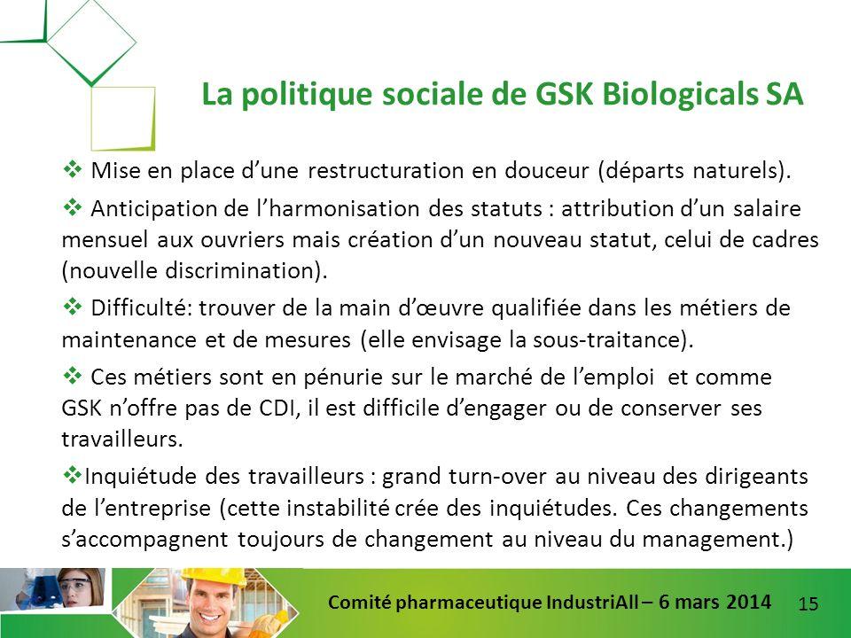La politique sociale de GSK Biologicals SA
