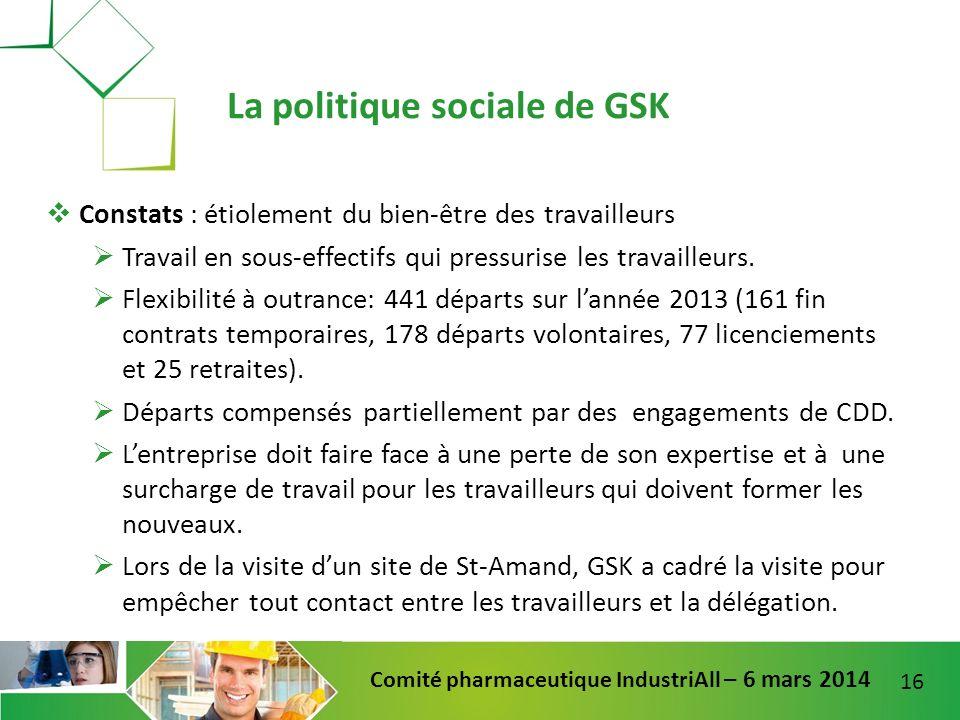 La politique sociale de GSK