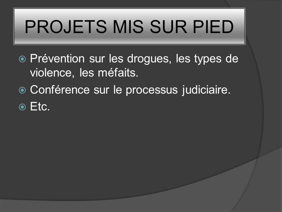 PROJETS MIS SUR PIED Prévention sur les drogues, les types de violence, les méfaits. Conférence sur le processus judiciaire.