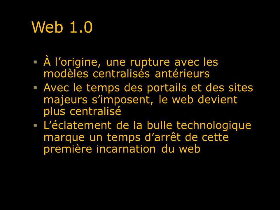 Web 1.0 À l'origine, une rupture avec les modèles centralisés antérieurs.