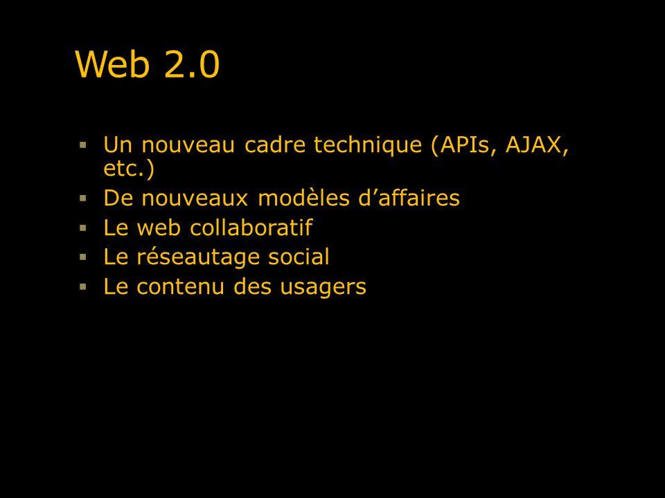 Web 2.0 Un nouveau cadre technique (APIs, AJAX, etc.)