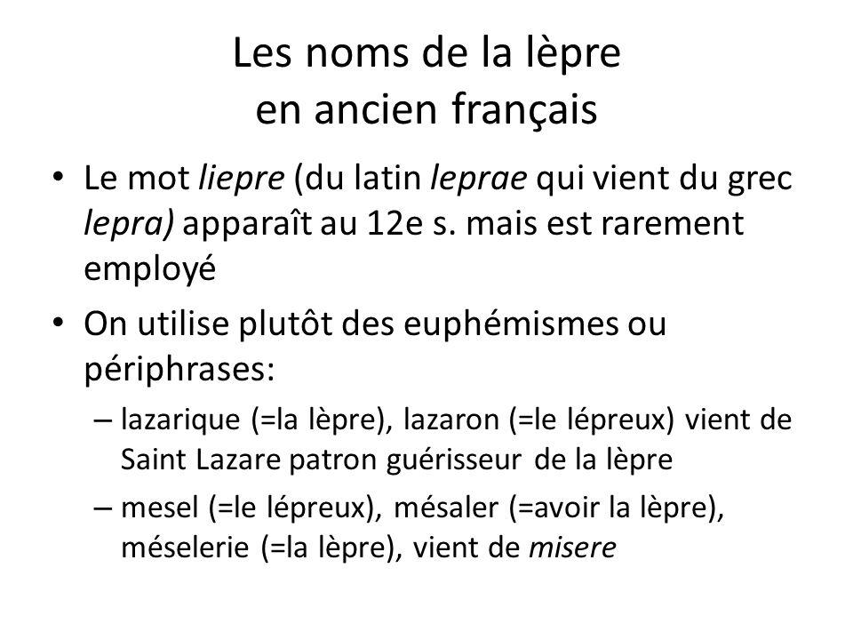 Les noms de la lèpre en ancien français