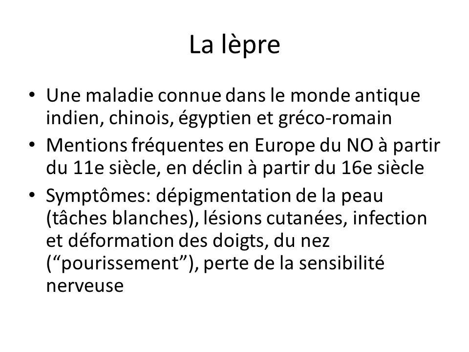 La lèpre Une maladie connue dans le monde antique indien, chinois, égyptien et gréco-romain.