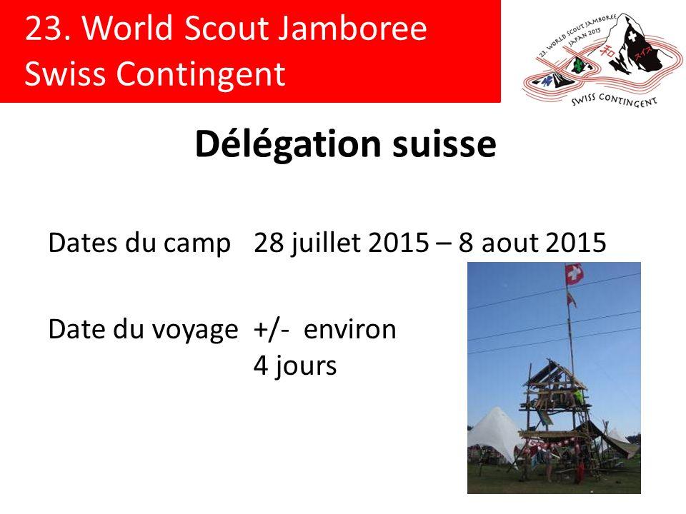 Délégation suisse Dates du camp 28 juillet 2015 – 8 aout 2015 Date du voyage +/- environ 4 jours