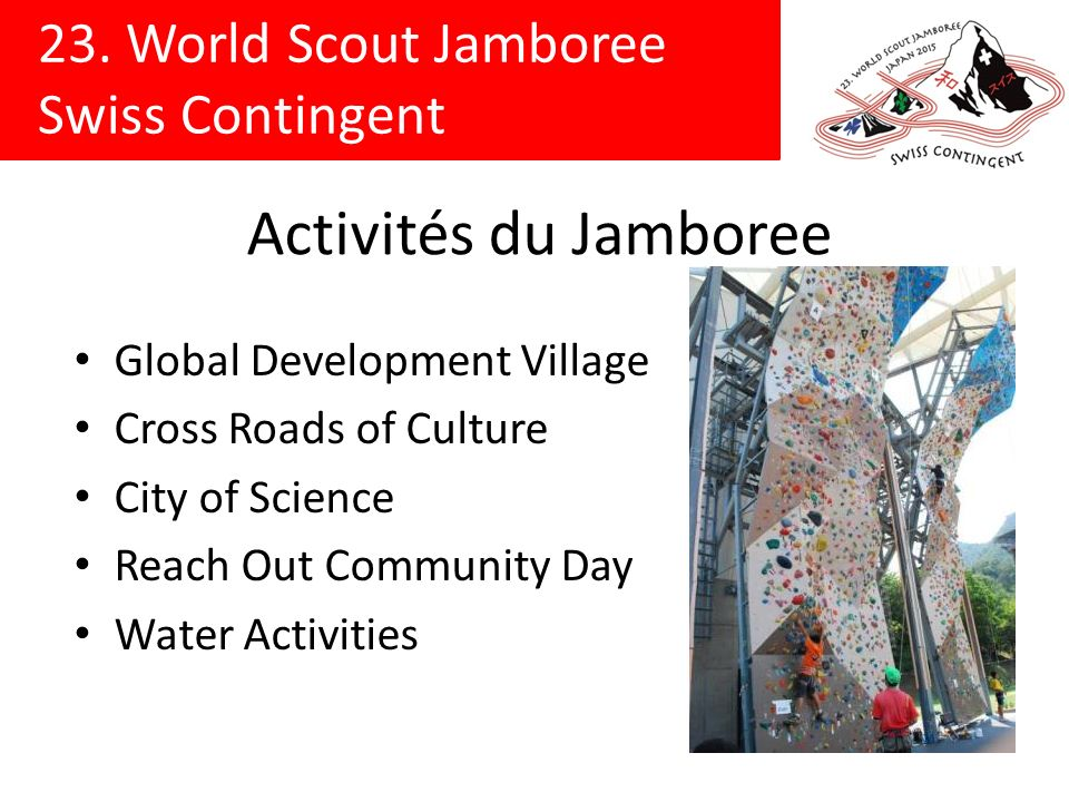 Activités du Jamboree Global Development Village