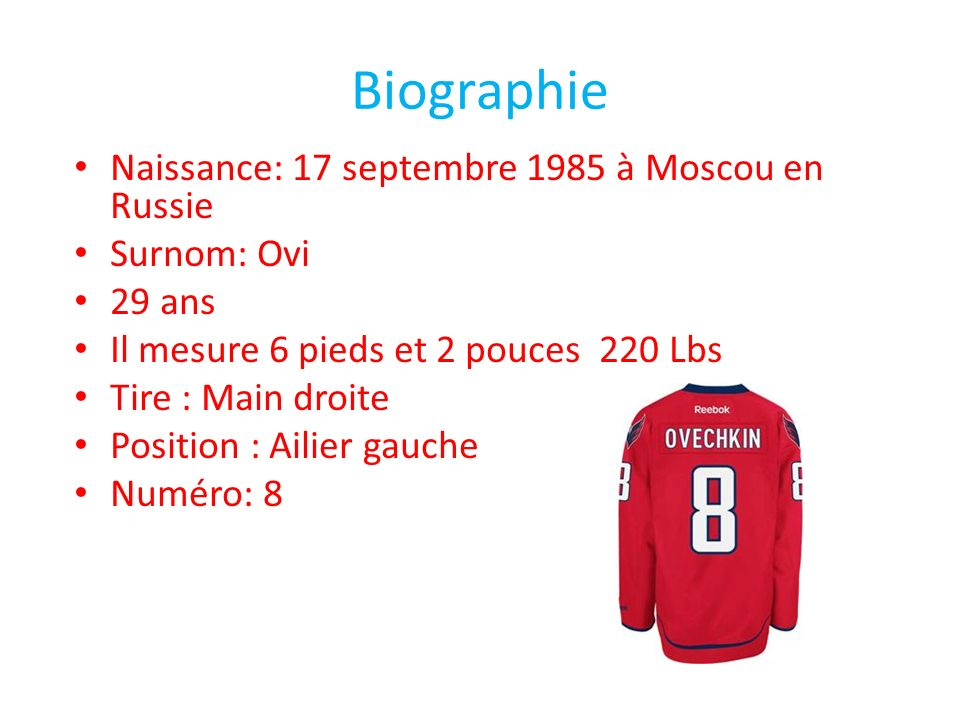Biographie Naissance: 17 septembre 1985 à Moscou en Russie Surnom: Ovi