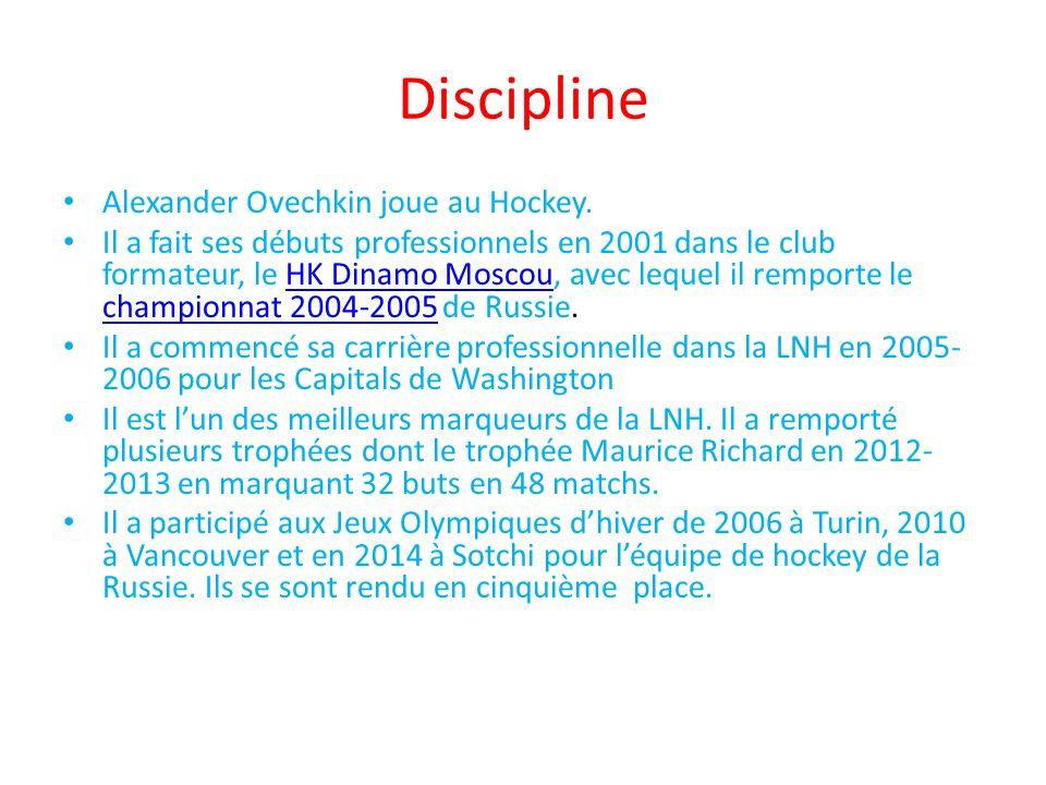 Discipline Alexander Ovechkin joue au Hockey.