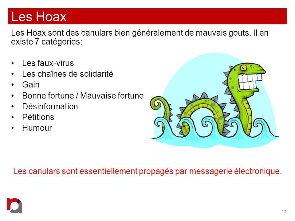 Les Hoax Les Hoax sont des canulars bien généralement de mauvais gouts. Il en existe 7 catégories: Les faux-virus.