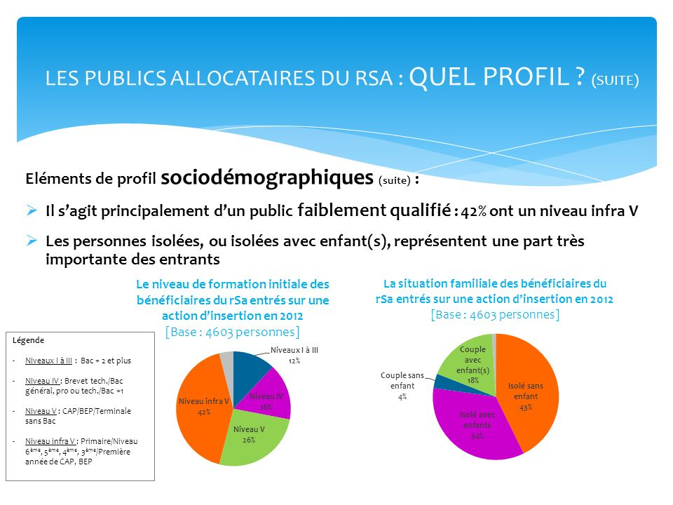LES PUBLICS ALLOCATAIRES DU RSA : QUEL PROFIL (SUITE)