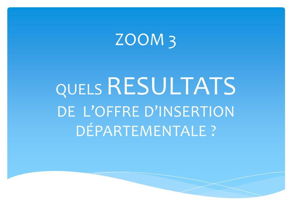 ZOOM 3 QUELS RESULTATS DE L'OFFRE D'INSERTION DÉPARTEMENTALE