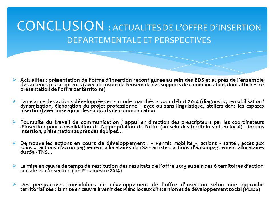 CONCLUSION : ACTUALITES DE L'OFFRE D'INSERTION DEPARTEMENTALE ET PERSPECTIVES