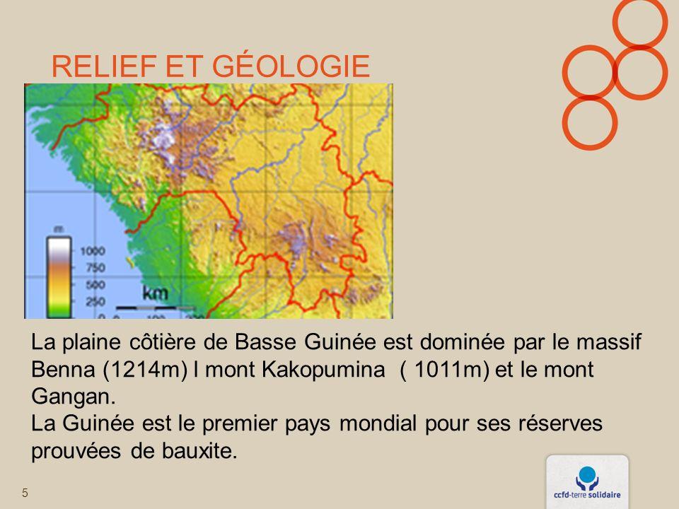 RelIEf et Géologie La plaine côtière de Basse Guinée est dominée par le massif Benna (1214m) l mont Kakopumina ( 1011m) et le mont Gangan.