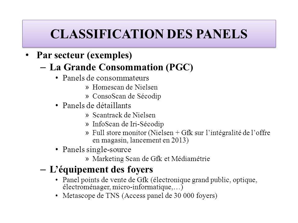 CLASSIFICATION DES PANELS