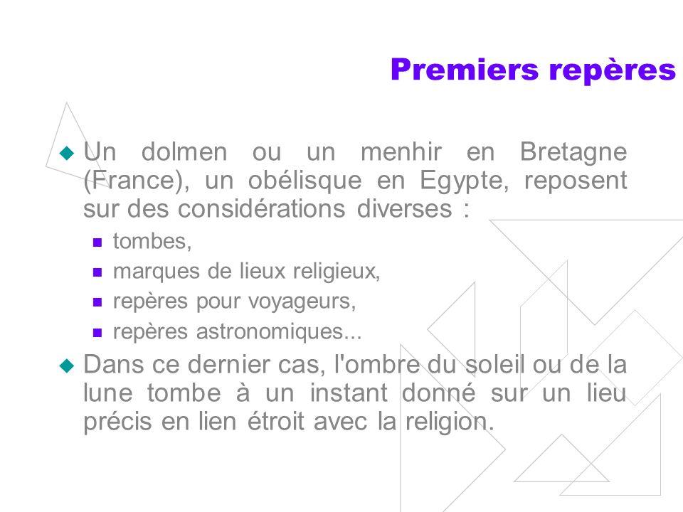 Premiers repères Un dolmen ou un menhir en Bretagne (France), un obélisque en Egypte, reposent sur des considérations diverses :