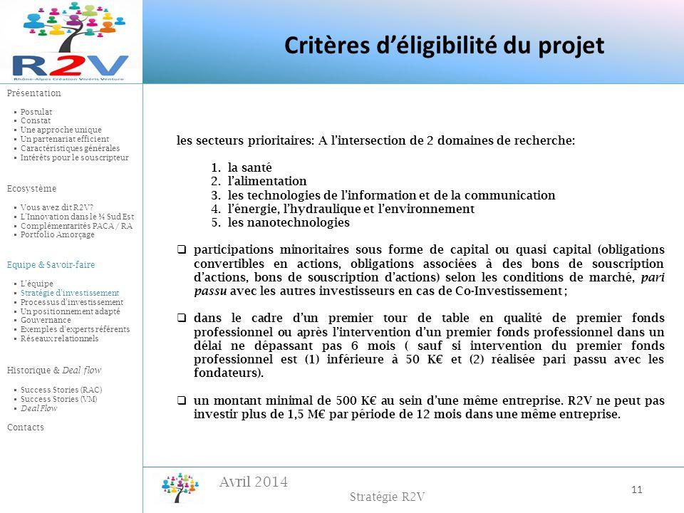 Critères d'éligibilité du projet