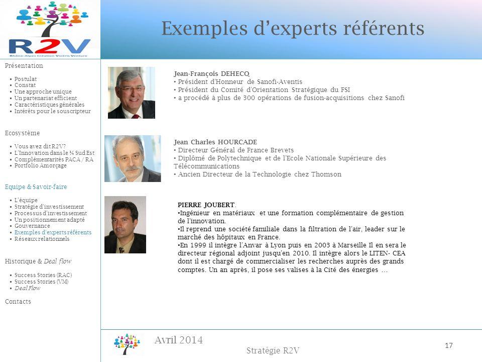 Exemples d'experts référents