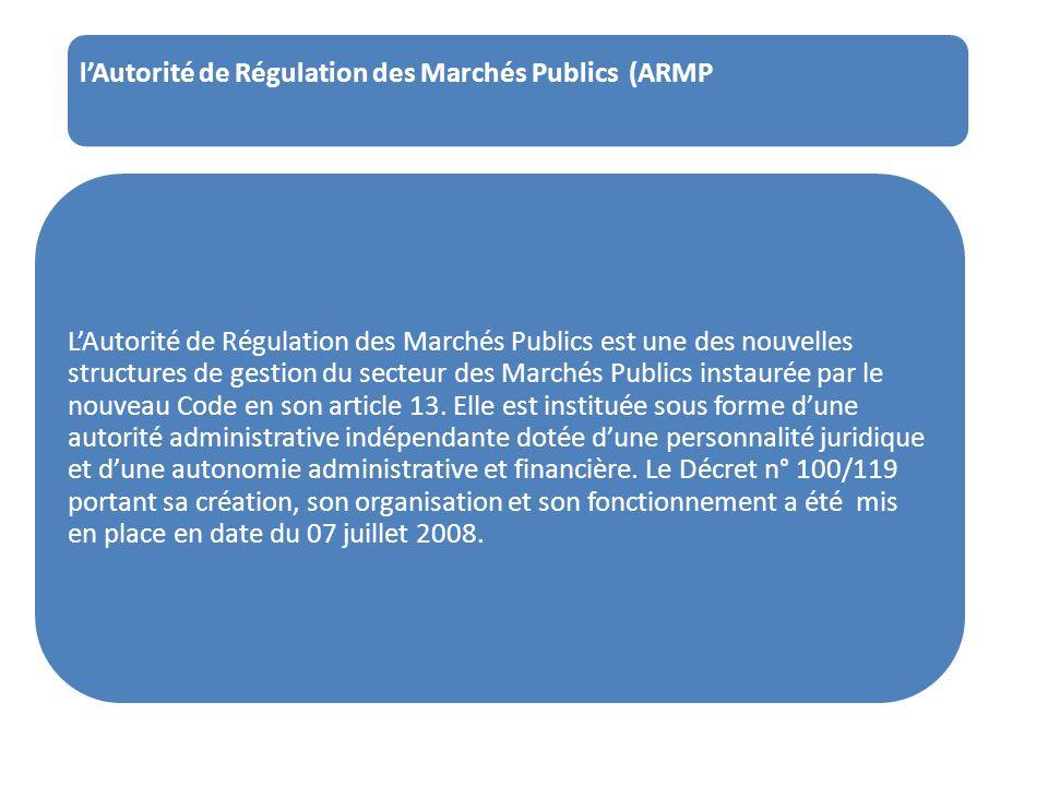 l'Autorité de Régulation des Marchés Publics (ARMP