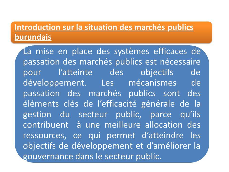 Introduction sur la situation des marchés publics burundais