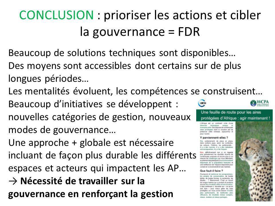 CONCLUSION : prioriser les actions et cibler la gouvernance = FDR