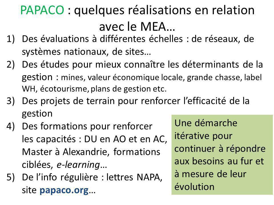 PAPACO : quelques réalisations en relation avec le MEA…