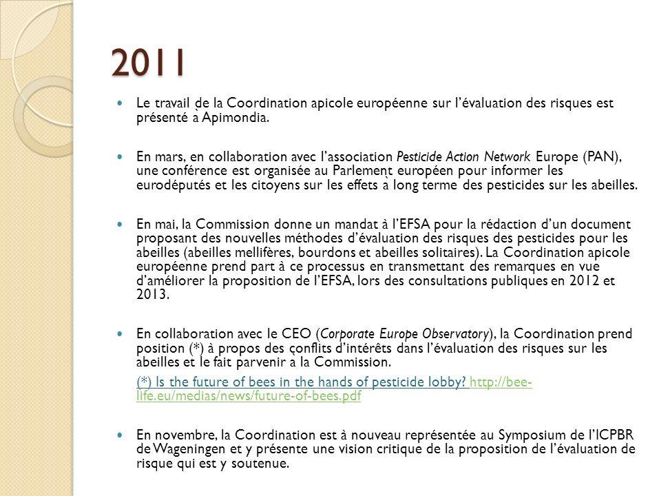 2011 Le travail de la Coordination apicole européenne sur l'évaluation des risques est présenté à Apimondia.