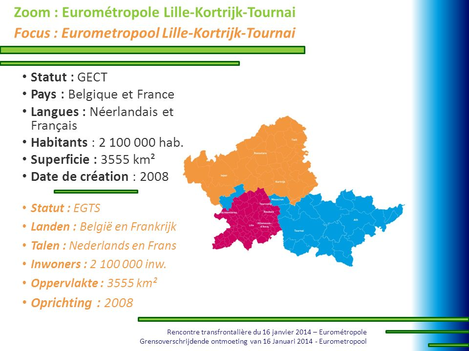 Zoom : Eurométropole Lille-Kortrijk-Tournai