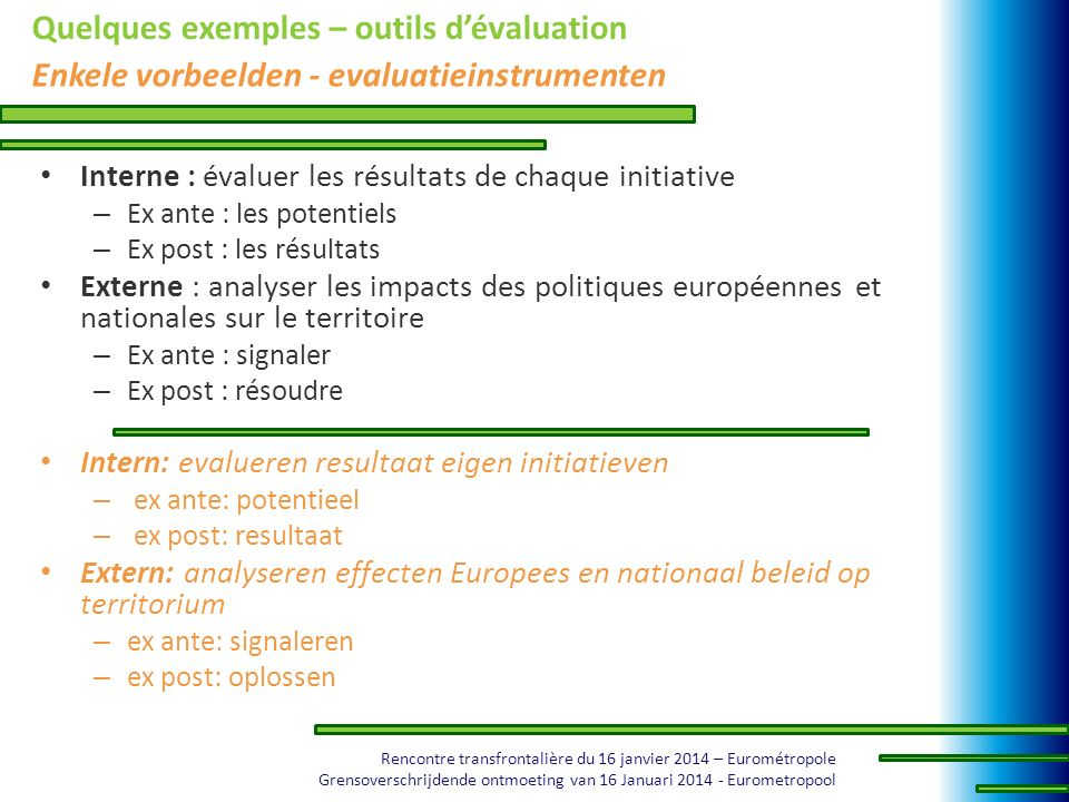 Quelques exemples – outils d'évaluation