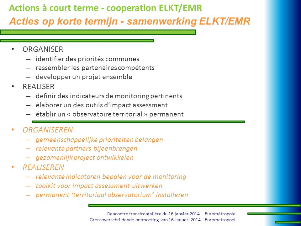Actions à court terme - cooperation ELKT/EMR
