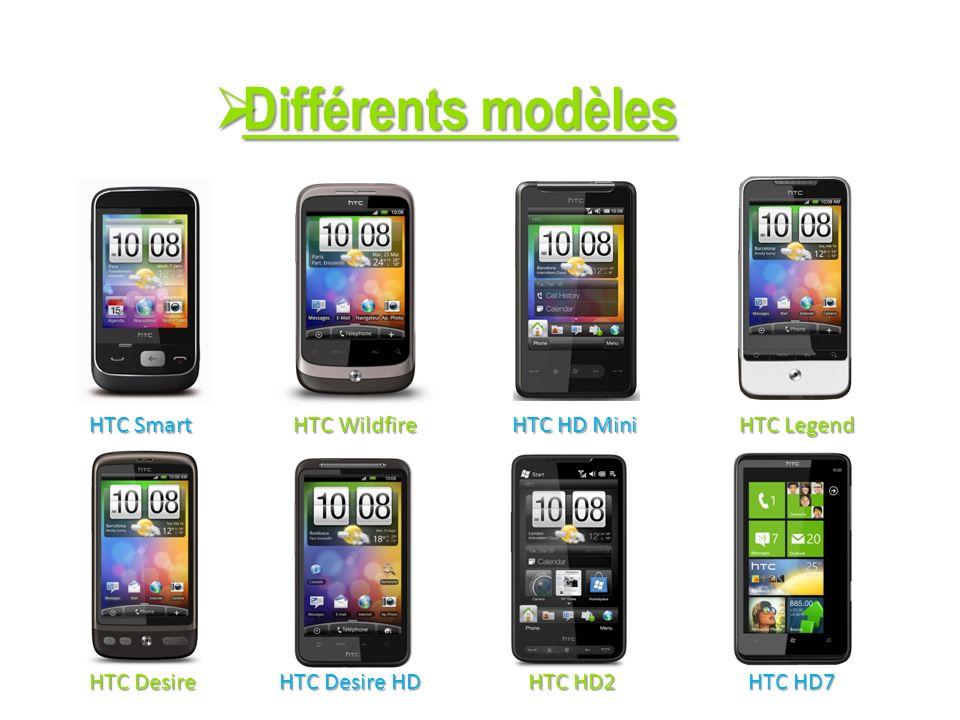 Différents modèles HTC Smart HTC Wildfire HTC HD Mini HTC Legend