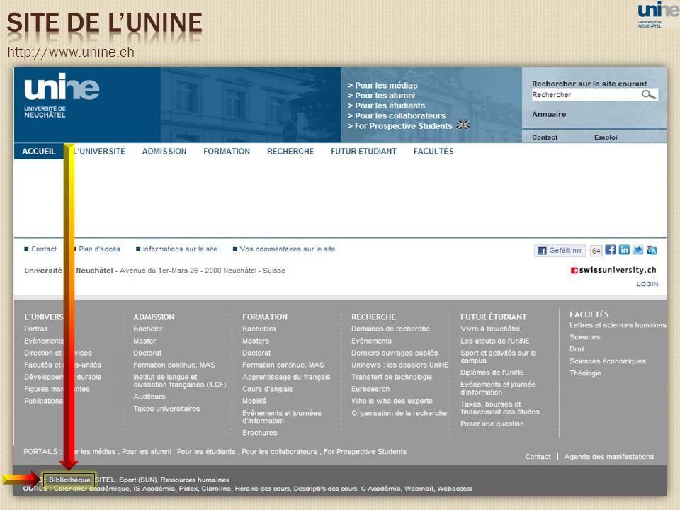 SITE DE L'UNINE http://www.unine.ch