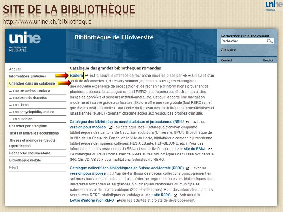 SITE DE LA BIBLIOTHÈQUE