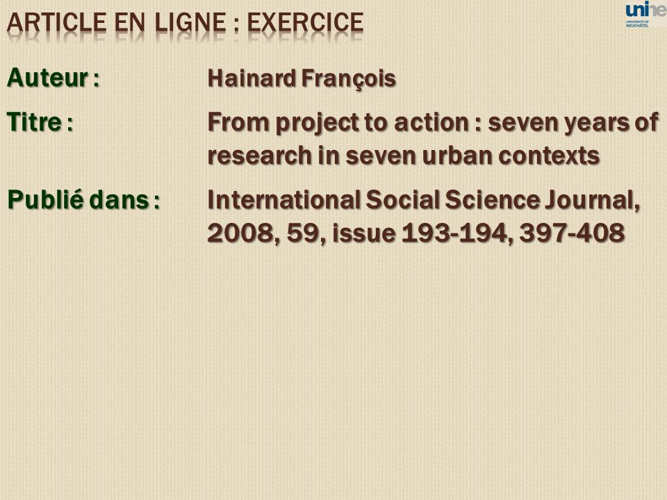 ARTICLE EN LIGNE : EXERCICE