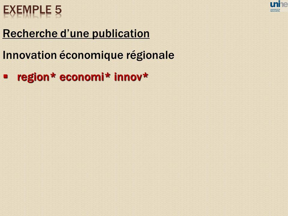 Recherche d'une publication Innovation économique régionale