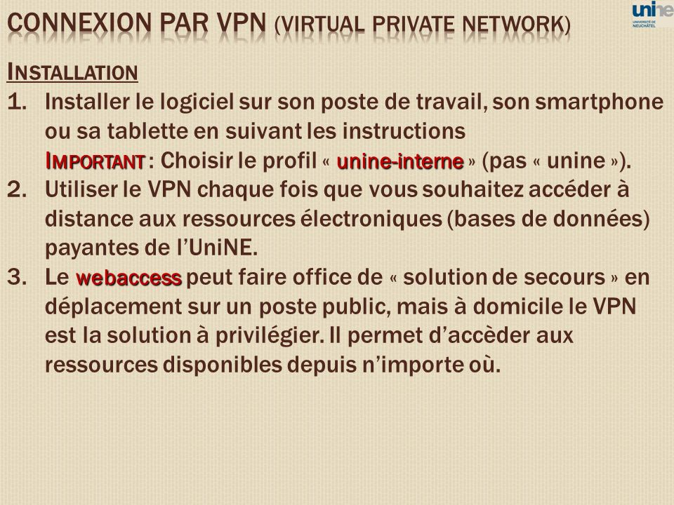 CONNEXION PAR VPN (VIRTUAL PRIVATE NETWORK)