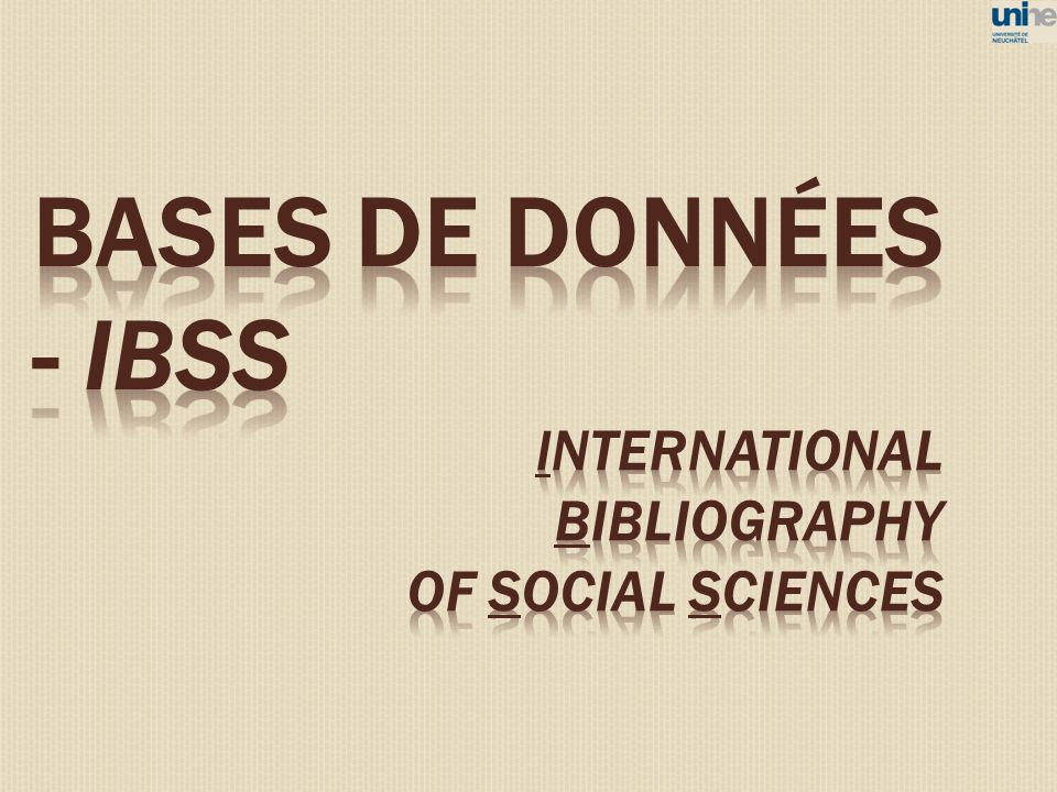 BASES DE DONNéES - IBSS international bibliography of social sciences