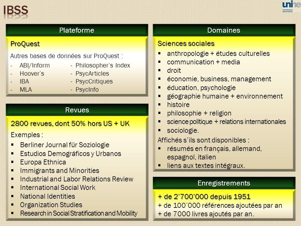 IBSS Plateforme Domaines ProQuest Sciences sociales Revues