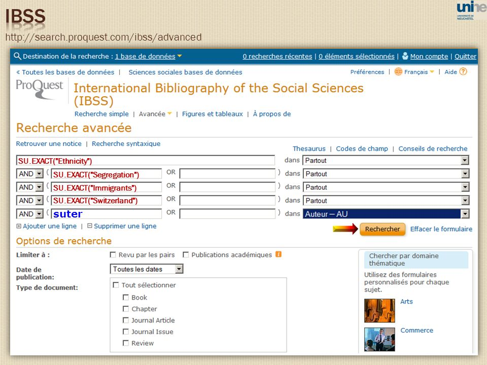 IBSS http://search.proquest.com/ibss/advanced suter