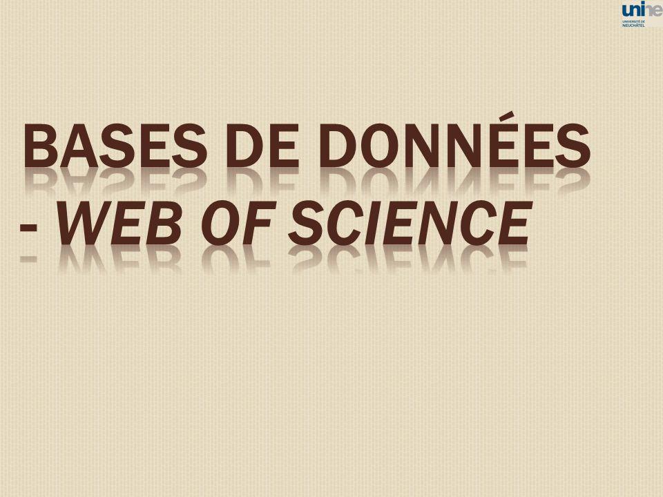 BASES DE DONNéES - WEB OF SCIENCE 71