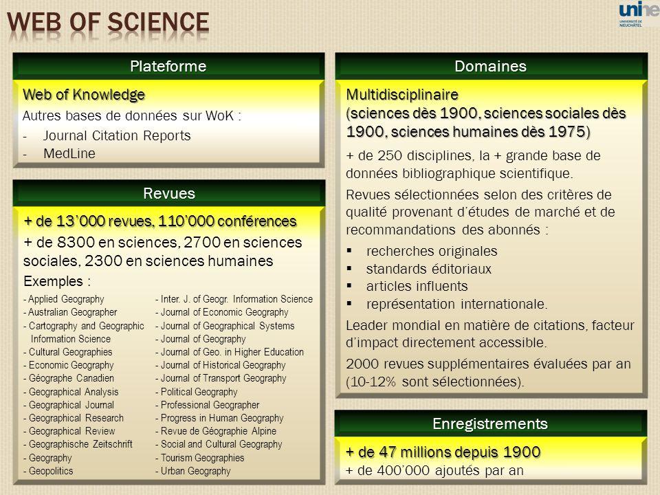 WEB OF SCIENCE Plateforme Domaines Revues Enregistrements