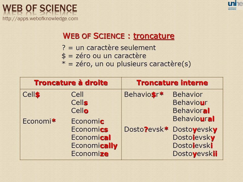 WEB OF SCIENCE WEB OF SCIENCE : troncature = un caractère seulement