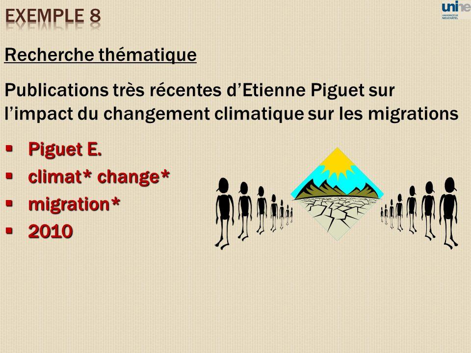 EXEMPLE 8 Recherche thématique
