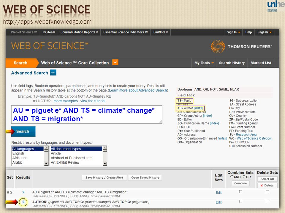 WEB OF SCIENCE AU = piguet e* AND TS = climate* change*