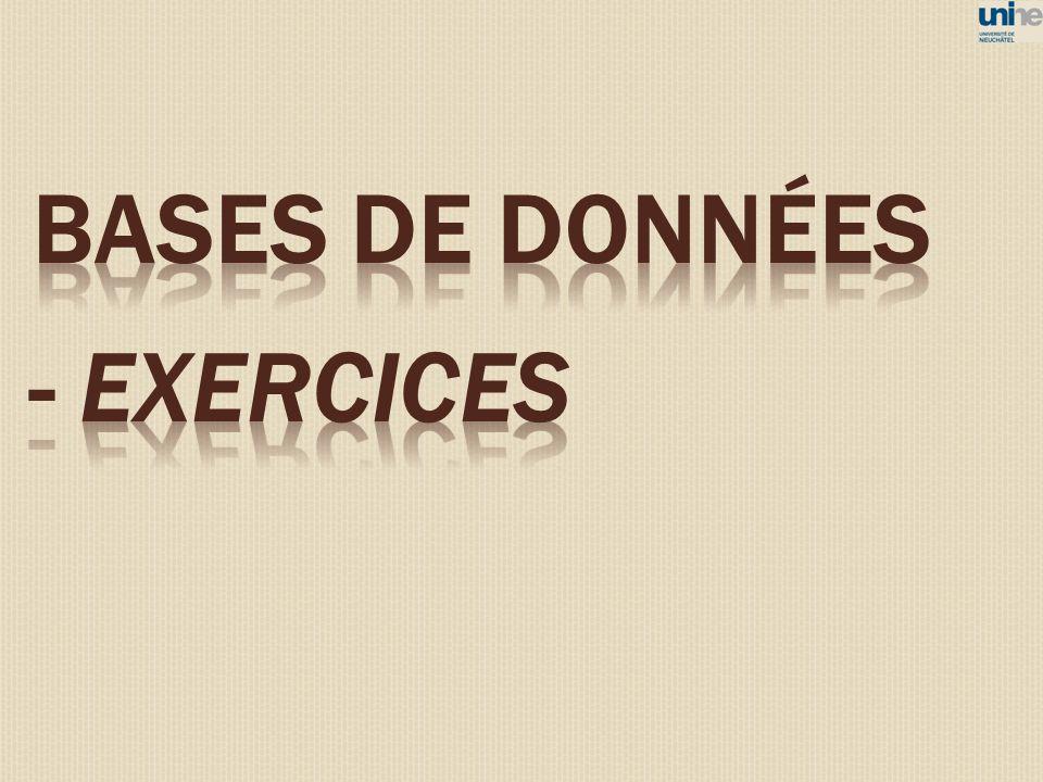 BASES DE DONNéES - EXERCICES 84