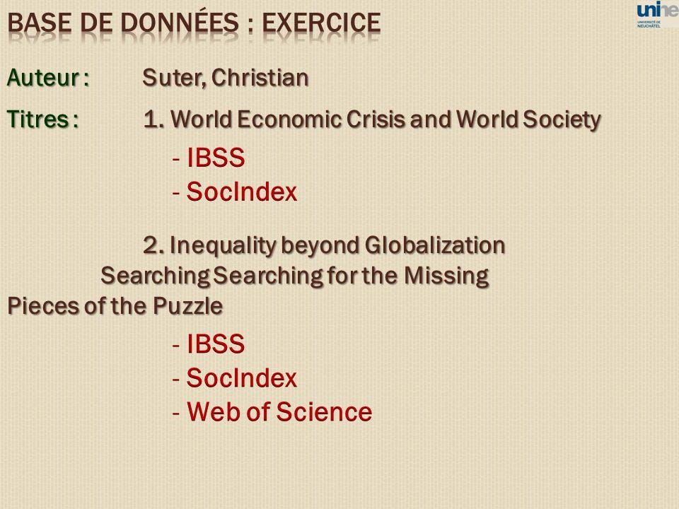 BASE DE DONNéES : EXERCICE
