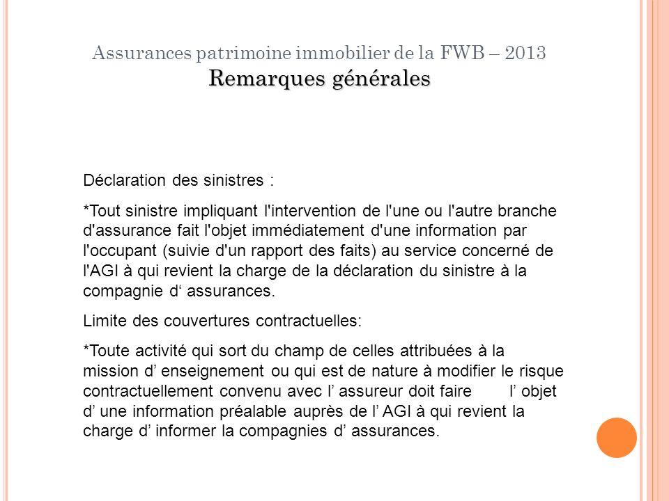 Assurances patrimoine immobilier de la FWB – 2013 Remarques générales