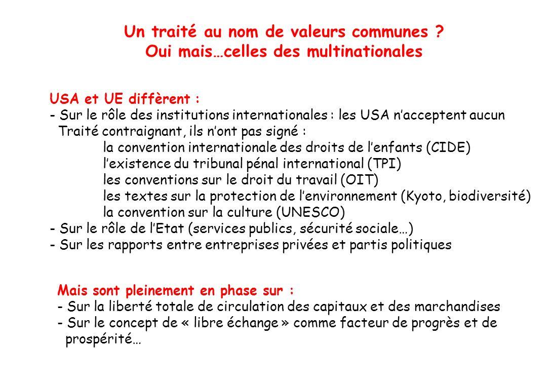Un traité au nom de valeurs communes
