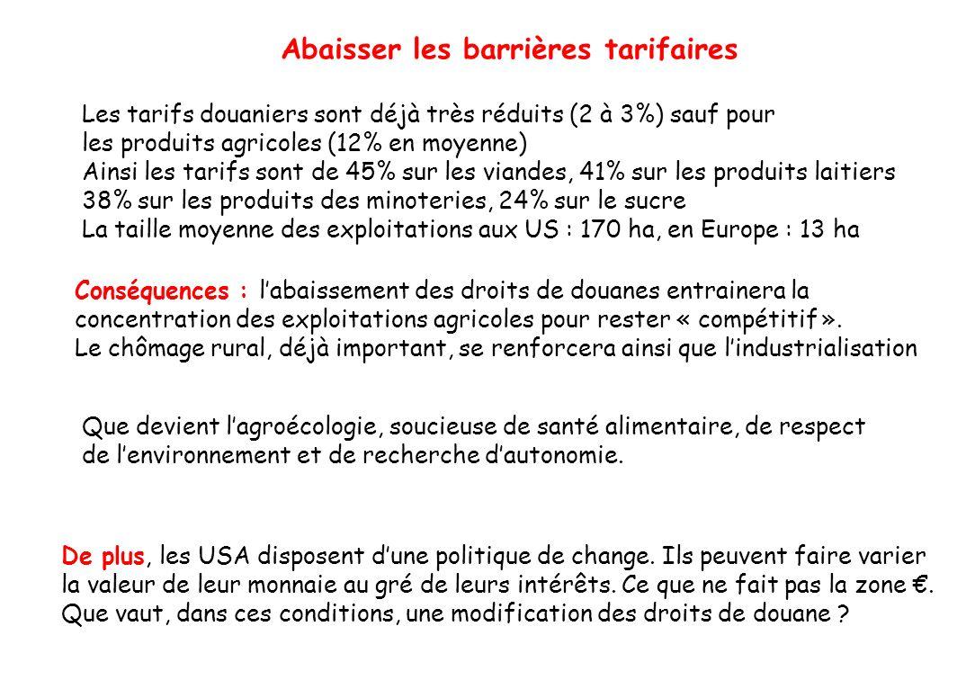 Abaisser les barrières tarifaires