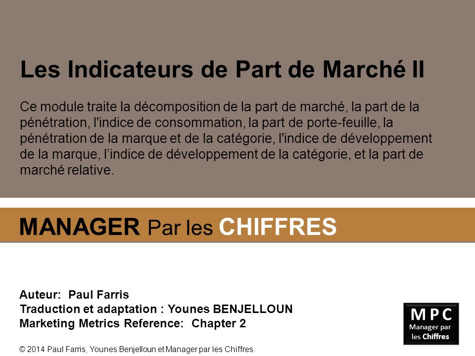 Les Indicateurs de Part de Marché II